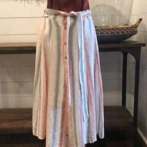 Anthropologie linen stripe midi skirt